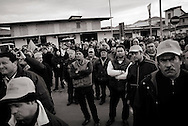 ITALY, Fondi: Farmers take part in a demonstration against the price increase of fruit and vegetables outside the MOF (Fondi's vegetable market), described as Europe's largest wholesale produce market, on January 27, 2010..©Christian Minelli