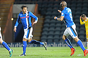 GOAL Nathaniel Mendez-Laing celebrates scoring 1-2 during the EFL Sky Bet League 1 match between Rochdale and Millwall at Spotland, Rochdale, England on 21 March 2017. Photo by Daniel Youngs.