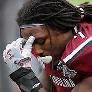 South Carolina Gamecocks defensive end Jadeveon Clowney (7) is seen during the NCAA Capital One Bowl football game between the South Carolina Gamecocks who represent the SEC and the Wisconsin Badgers who represent the Big 10 Conference, at the Florida Citrus Bowl on Wednesday, January 1, 2014 in Orlando, Florida. (AP Photo/Alex Menendez)