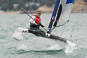 Andrew Landengerger (AUS308), race seven of the A Class World championships regatta being sailed at Takapuna in Auckland. 15/2/2014