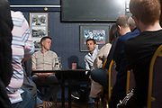 Dundee manager Neil McCann and assistant manager Graham Gartland during a question and answer session for season ticket holders at Dens Park, Dundee<br /> <br /> <br />  - &copy; David Young - www.davidyoungphoto.co.uk - email: davidyoungphoto@gmail.com