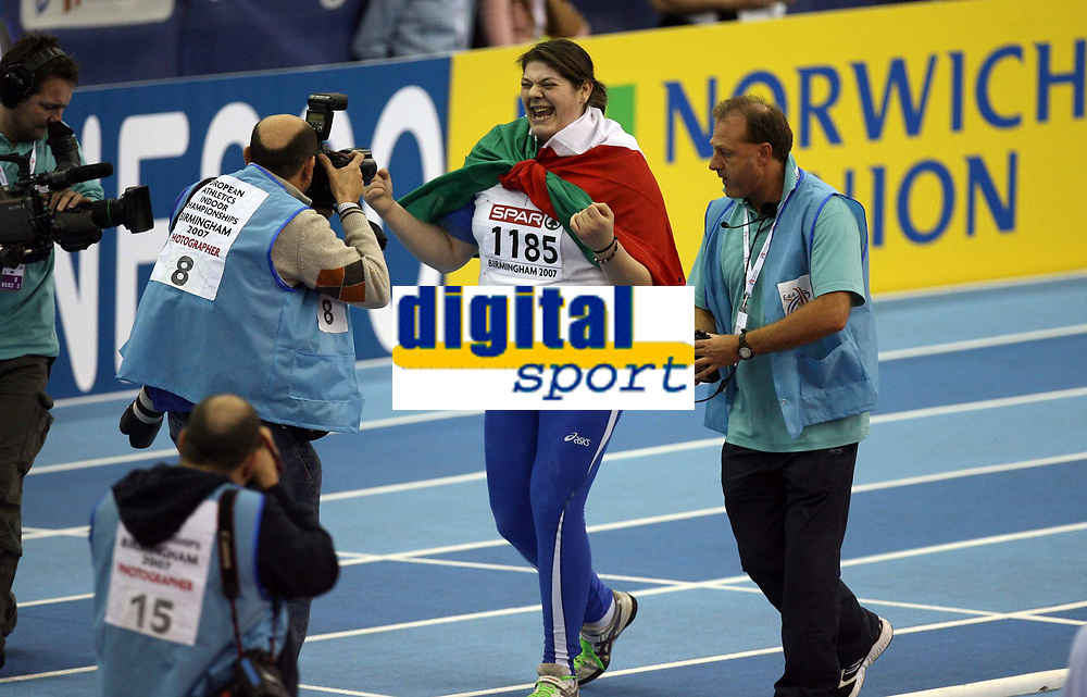 Photo: Rich Eaton.<br /> <br /> EAA European Athletics Indoor Championships, Birmingham 2007. 04/03/2007. Assunta Legnante of Italy wins gold in the womens shot put