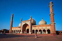 Inde, Delhi, vieux Delhi, la mosquée Jama Masjid, construite par l'empereur moghol Shah Jahan entre 1644 et 1656 // India, Delhi, Old Delhi, Jama Masjid mosque build by Shah Jahan, the moghol emperor