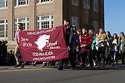 Ohio University chapters of Acacia, Delta Phi, and Pi Beta Phi march in the 2015 Homecoming parade. Photo by Kaitlin Owens