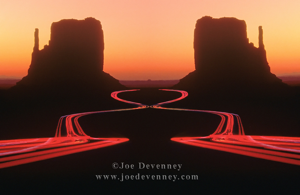 Digital composite of a mirror image of car lights and Mittens in Monument Valley, Arizona at surise
