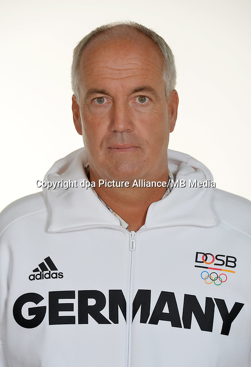 Thomas Weber poses at a photocall during the preparations for the Olympic Games in Rio at the Emmich Cambrai Barracks in Hanover, Germany. July 27, 2016. Photo credit: Frank May/ picture alliance.   usage worldwide