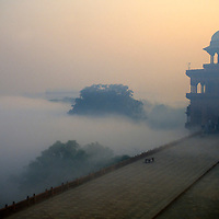 Asia, India, Agra. Red Fort at dusk.