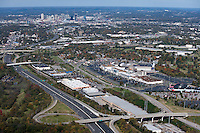 Aerial photo of the Nashville Skyline showing I-65, I-440, 100 Oaks Mall, Woodmont Boulevard  and Armory Drive in the foreground.