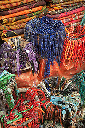 Middle East, Israel, Jerusalem, beads and scarves on display in market