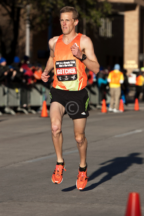 2012 USA Olympic Marathon Trials: Brett Gotcher leads second pack early in race