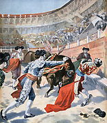 El Espartero (Manuel Garcia Cuesta - 1866-1854) Spanish bullfighter gored to death in the Madrid bullring by Perdigon,  a bull from the Miura herd.  From 'Le Petit Journal', Paris, 11 June 1894.   Spain, Spanish Sport, Spectacle, Entertainment