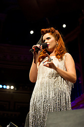 © Copyright licensed to London News Pictures. 18/10/2010. Paloma Faith, onstage at the Royal Albert Hall. Musicians and composers from the world of film gather for Concert for Care, Royal Albert Hall, London.