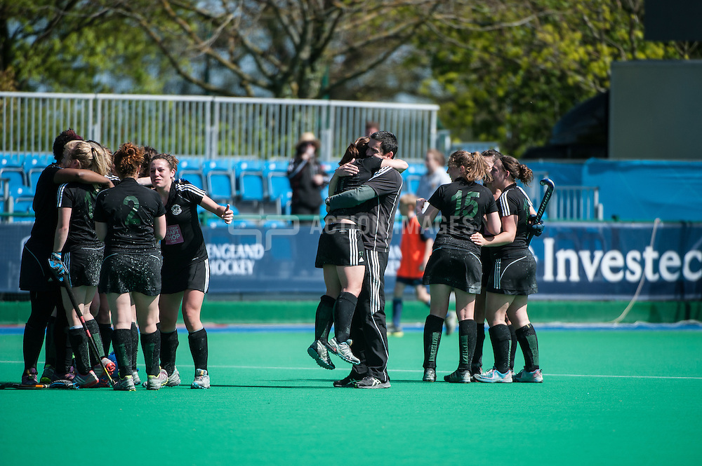 The Buckingham players celebrate after their victory against Sutton Coldfield and promotion to the Premier Division. Investec Women's Hockey League Finals Weekend, Sonning Lane, Reading, UK on 13 April 2014. Photo: Simon Parker