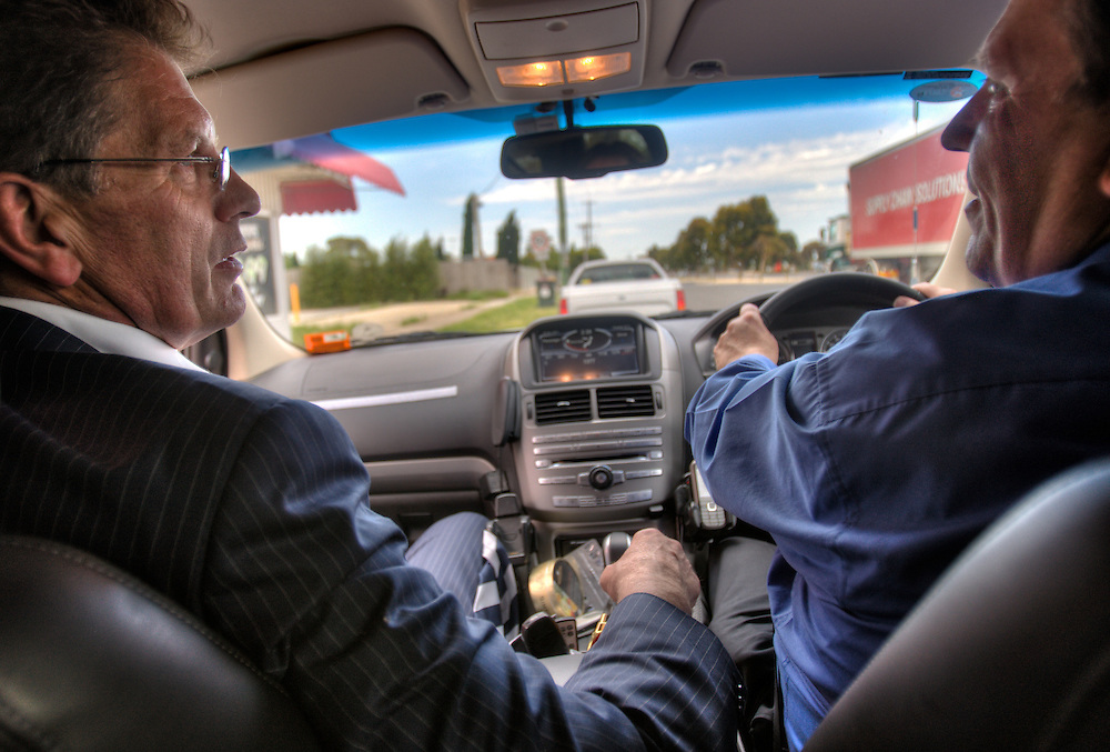 Victorian Premier Ted Baillieu after one year in office. Leaving Geelong with driver John. Pic By Craig Sillitoe CSZ/The Sunday Age.21/11/2011 melbourne photographers, commercial photographers, industrial photographers, corporate photographer, architectural photographers, This photograph can be used for non commercial uses with attribution. Credit: Craig Sillitoe Photography / http://www.csillitoe.com<br />