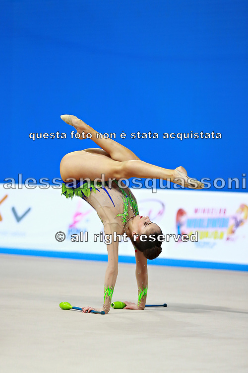 Vladinova Neviana during qualifying at clubs in Pesaro World Cup April 11, 2015. Neviana is a gymnast from Bulgaria. She is born in Pleven February 23, 1994.