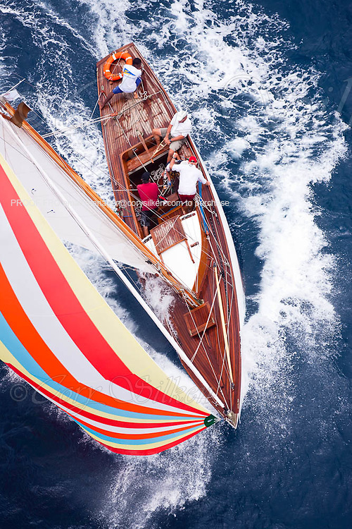 Taru sailing in the 2010 Antigua Classic Yacht Regatta, Butterfly Race, day 2.