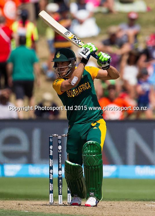 South Africa's Faf du Plessis batting during the ICC Cricket World Cup match - South Africa v Zimbabwe at Seddon Park, Hamilton, New Zealand on Sunday 15 February 2015.  Photo:  Bruce Lim / www.photosport.co.nz