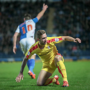 Joe Mattock (Rotherham United) gets to his feet having been brought down, meanwhile the ball goes over the byline during the Sky Bet Championship match between Blackburn Rovers and Rotherham United at Ewood Park, Blackburn, England on 11 December 2015. Photo by Mark P Doherty.