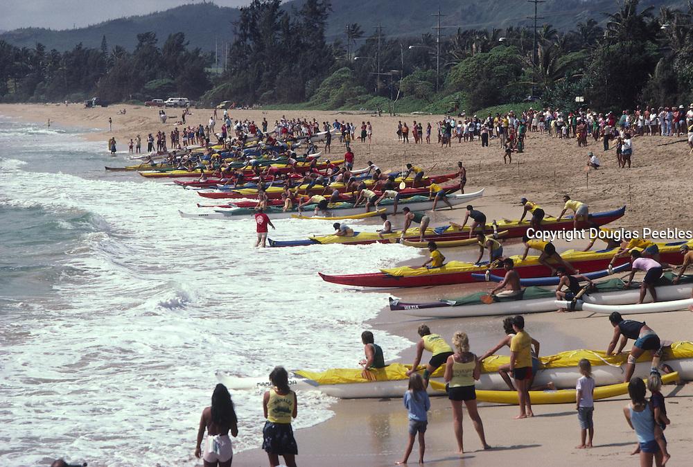 Outrigger canoe race, Wailua Beach, kauai, Hawaii<br />