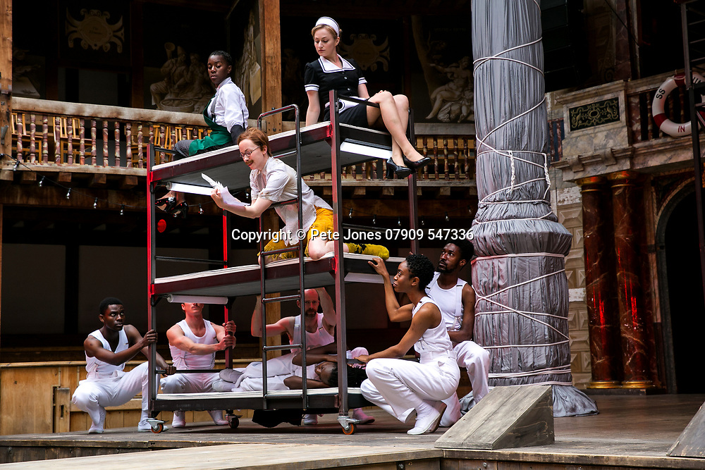 Twelfth Night by William Shakespeare;<br /> Directed by Emma Rice;<br /> Katy Owen as Malvolio; <br /> Carly Bawden as Maria the maid;<br /> Tony Jayawardena as Sir Toby Belch;<br /> Marc Antolin as Sir Andrew Aguecheek;<br /> Kandaka Moore ensemble;<br /> Shakespeare's Globe;<br /> London, UK;<br /> 23 May 2017<br /> © Pete Jones<br />pete@pjproductions.co.uk