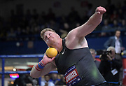 Feb 9, 2019; New York, NY, USA; Ryan Crouser wins the shot put in a meet-record 73-3 1/2 for the longest throw in the world in 11 years and No. 4 ever during the 112th Millrose Games at The Armory.