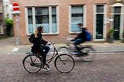 Een meisje fietst door Utrecht.<br /> <br /> A girl cycles at the city center of Utrecht.