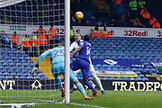 Leeds United forward Pierre-Michel Lasogga (9) heads against the bar during the EFL Sky Bet Championship match between Leeds United and Cardiff City at Elland Road, Leeds, England on 3 February 2018. Picture by Paul Thompson.