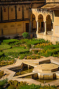 The beautiful and geometric design of the gardens within the Amber Fort,  in Jaipur, India.