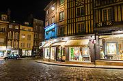 Honfleur street corner at night, Normandy, France