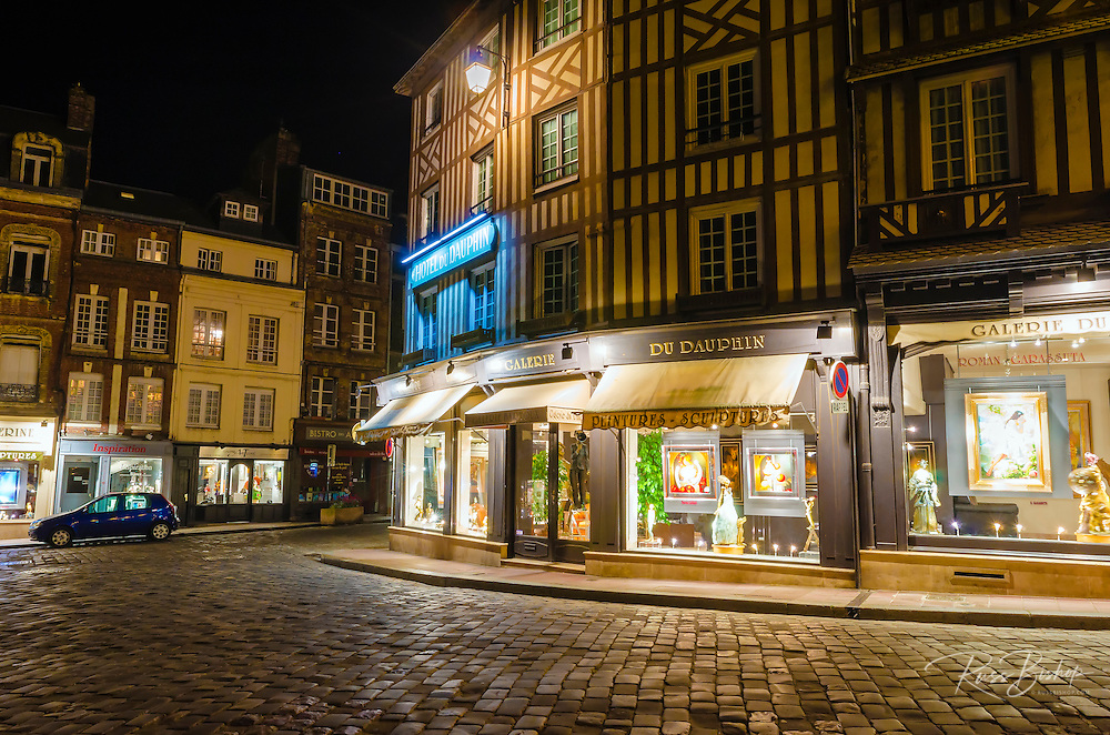 Honfleur street corner at night, Normandy, France