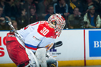 KELOWNA, CANADA - NOVEMBER 9: Alexander Trushkov #30 of Team Russia stands in net against Team WHL on November 9, 2015 during game 1 of the Canada Russia Super Series at Prospera Place in Kelowna, British Columbia, Canada.  (Photo by Marissa Baecker/Western Hockey League)  *** Local Caption *** Alexander Trushkov;