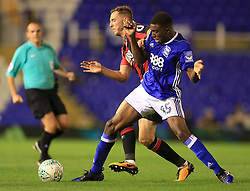 Wes Harding of Birmingham City battles for the ball - Mandatory by-line: Paul Roberts/JMP - 22/08/2017 - FOOTBALL - St Andrew's Stadium - Birmingham, England - Birmingham City v Bournemouth - Carabao Cup