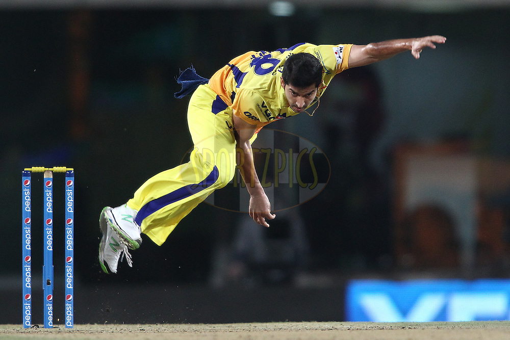 Mohit Sharma of The Chennai Super Kings sends down a delivery during match 21 of the Pepsi Indian Premier League Season 2014 between the Chennai Superkings and the Kolkata Knight Riders  held at the JSCA International Cricket Stadium, Ranch, India on the 2nd May  2014<br /> <br /> Photo by Shaun Roy / IPL / SPORTZPICS<br /> <br /> <br /> <br /> Image use subject to terms and conditions which can be found here:  http://sportzpics.photoshelter.com/gallery/Pepsi-IPL-Image-terms-and-conditions/G00004VW1IVJ.gB0/C0000TScjhBM6ikg