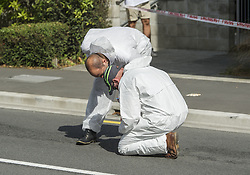 March 16, 2019 - Christchurch, Canterbury, New Zealand - Crime scene technicans work on Deans avenue where the Al Noor mosque is located and where a gunman killed 41 people. Seven people died in a second mosque shooting in Linwood and one person died in hospital. (Credit Image: © PJ Heller/ZUMA Wire)