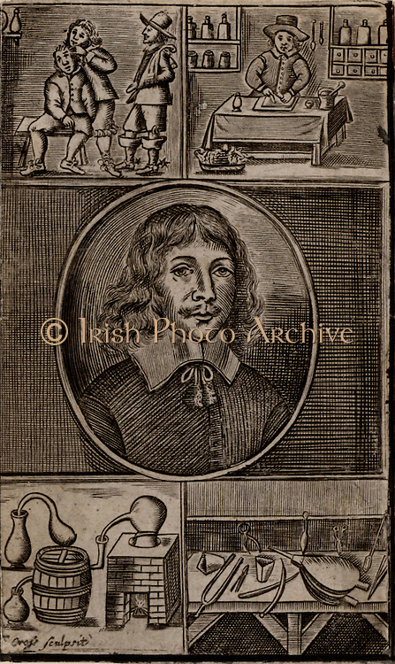 Thomas Brugis (c1620-c1651) an army surgeon in the English Civil War. At top left, a man is being treated for a head wound.  Top right, medicines are being prepared.  At bottom left is chemical apparatus for distillation. Bottom right, bellows, crucibles, tongs, etc, for use with a chemical furnace.  17th century copperplate engraving.