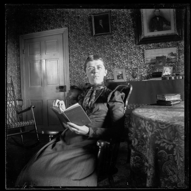 Victorian photograph of a woman reading in her house in Fallston, Maryland