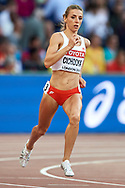 Great Britain, London - 2017 August 10: Angelika Cichocka (SKLA Sopot) of Poland competes in women's 800 meters qualification during IAAF World Championships London 2017 Day 7 at London Stadium on August 10, 2017 in London, Great Britain.<br /> <br /> Mandatory credit:<br /> Photo by © Adam Nurkiewicz<br /> <br /> Adam Nurkiewicz declares that he has no rights to the image of people at the photographs of his authorship.<br /> <br /> Picture also available in RAW (NEF) or TIFF format on special request.<br /> <br /> Any editorial, commercial or promotional use requires written permission from the author of image.