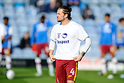 Jake Reeves (4) of Bradford City warming up before the EFL Sky Bet League 1 match between Portsmouth and Bradford City at Fratton Park, Portsmouth, England on 28 October 2017. Photo by Graham Hunt.