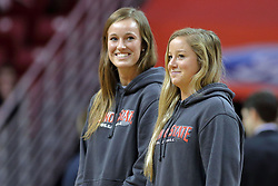 09 December 2017:  Jaelyn Keene and Courtney Pence are recognized at a time out for their volleyball awards and designations from the AVCA during a College mens basketball game between the Murray State Racers and Illinois State Redbirds in  Redbird Arena, Normal IL