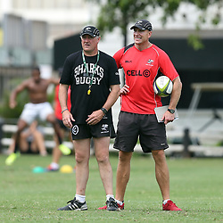 DURBAN, SOUTH AFRICA - MARCH 12:  (L) Gary Gold (Sharks Director of Rugby)  (R)  Brad MacLeod-Henderson( Assistant Coach) during the Cell C Sharks training session and press conference at Growthpoint Kings Park on March 12, 2015 in Durban, South Africa. (Photo by Steve Haag/Gallo Images)