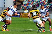 lolagi Visinia  In action during the Taranaki vs Auckland ITM cup match played at Yarrow Stadium New Plymouth New Zealand. Saturday the 7th of September 2013. <br /> Photo John Velvin/Photosport
