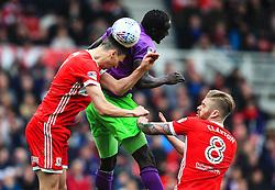 Daniel Ayala of Middlesbrough wins a header ahead of Famara Diedhiou of Bristol City- Mandatory by-line: Matt McNulty/JMP - 14/04/2018 - FOOTBALL - Riverside Stadium - Middlesbrough, England - Middlesbrough v Bristol City - Sky Bet Championship