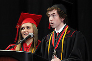 Taylor Fitzgerald (left) and John Caldarea speak during the Franklin High School graduation exercise at the Nutter Center in Fairborn, Saturday, May 26, 2012.