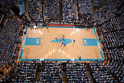CHAPEL HILL, NC - MARCH 05: An overhead general view of the Dean E. Smith Center during tipoff between the North Carolina Tar Heels and the Duke Blue Devils on March 05, 2011 at the Dean E. Smith Center in Chapel Hill, North Carolina. North Carolina won 67-81. (Photo by Peyton Williams/UNC/Getty Images)