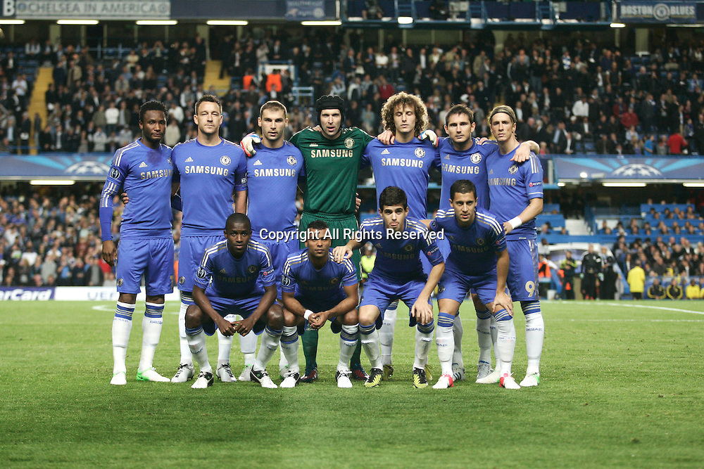 19.09.12 London, ENGLAND: <br /> Chelsea Team<br /> during the UEFA Champions League Group E match between Chelsea and  Juventus at Stamford Bridge Stadium