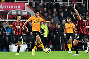 Raul Jimenez (9) of Wolverhampton Wanderers on the attack during the Premier League match between Bournemouth and Wolverhampton Wanderers at the Vitality Stadium, Bournemouth, England on 23 November 2019.