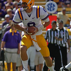 October 1, 2011; Baton Rouge, LA, USA;  LSU Tigers quarterback Zach Mettenberger (8) against the Kentucky Wildcats during the fourth quarter at Tiger Stadium. LSU defeated Kentucky 35-7. Mandatory Credit: Derick E. Hingle-US PRESSWIRE / © Derick E. Hingle 2011