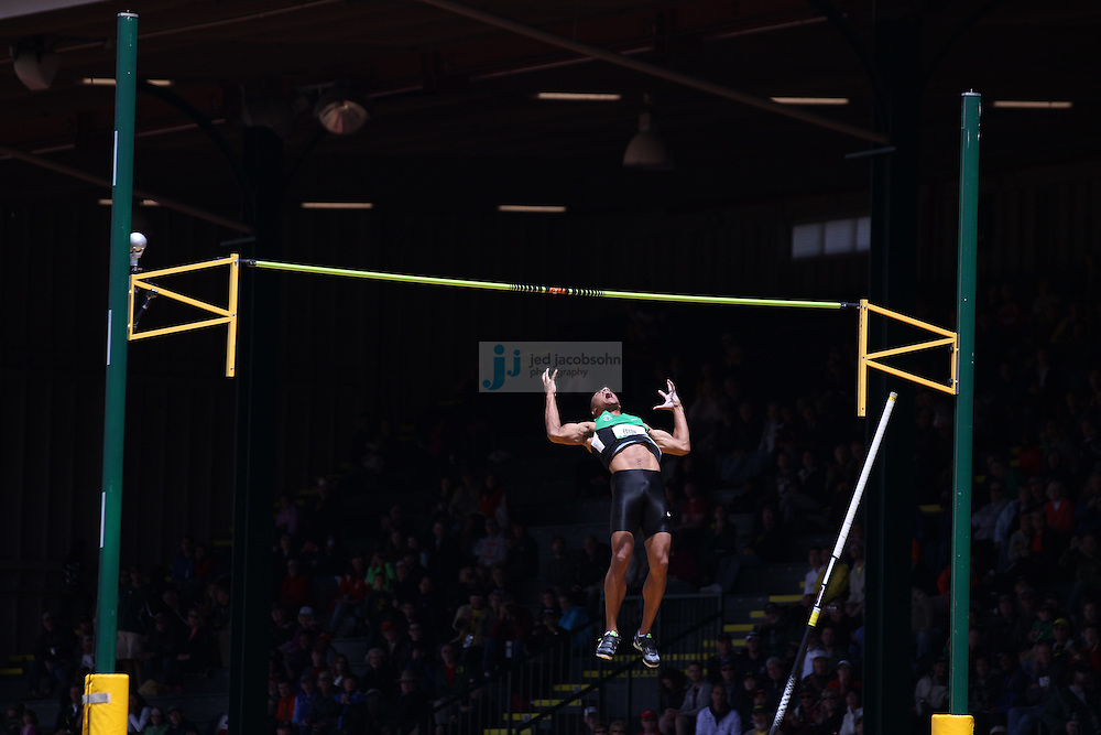 Ashton Eaton celebrates after clearing 5.2m in the high jump portion of the Decathlon during day 2 of the U.S. Olympic Trials for Track & Field at Hayward Field in Eugene, Oregon, USA 23 Jun 2012..(Jed Jacobsohn/for The New York Times)....