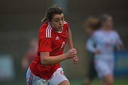 MERTHYR, WALES - Tuesday, February 14, 2017: Wales' Cassia Pike in action against Hungary during a Women's Under-17's International Friendly match at Penydarren Park. (Pic by Laura Malkin/Propaganda)