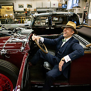 May 3, 2012 - Hibernia, NJ : Musician and composer Michael Arenella sits in the drivers seat of his 1930 Buick Roadster Model 64 at Hibernia Auto Restorations LLC., located at 52 Maple Terrace in Hibernia, NJ, on Thursday. CREDIT : Karsten Moran for The New York Times